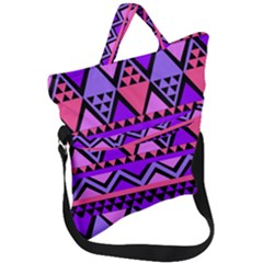 Seamless Purple Pink Pattern Fold Over Handle Tote Bag