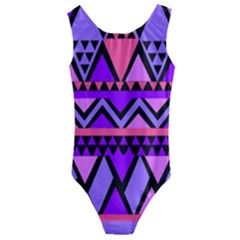 Seamless Purple Pink Pattern Kids  Cut-Out Back One Piece Swimsuit