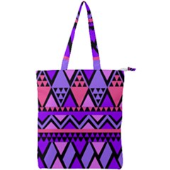 Seamless Purple Pink Pattern Double Zip Up Tote Bag