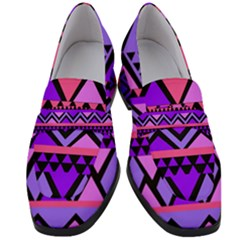 Seamless Purple Pink Pattern Women s Chunky Heel Loafers by Pakrebo