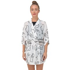 Set Chalk Out Scribble Collection Half Sleeve Chiffon Kimono