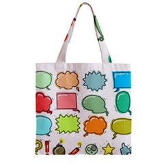Set Collection Balloon Image Zipper Grocery Tote Bag