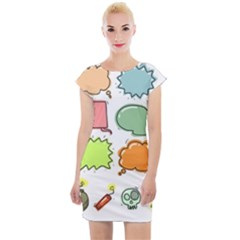 Set Collection Balloon Image Cap Sleeve Bodycon Dress