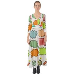 Set Collection Balloon Image Button Up Boho Maxi Dress by Pakrebo