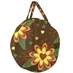 Floral Hearts Brown Green Retro Giant Round Zipper Tote
