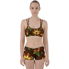 Floral Hearts Brown Green Retro Perfect Fit Gym Set