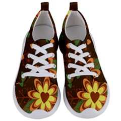 Floral Hearts Brown Green Retro Women s Lightweight Sports Shoes