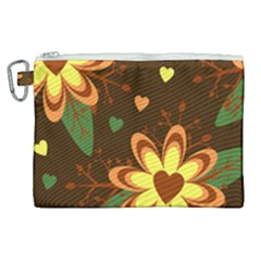 Floral Hearts Brown Green Retro Canvas Cosmetic Bag (xl)