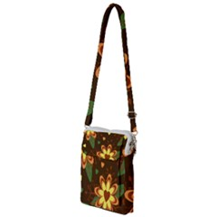 Floral Hearts Brown Green Retro Multi Function Travel Bag