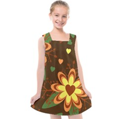 Floral Hearts Brown Green Retro Kids  Cross Back Dress