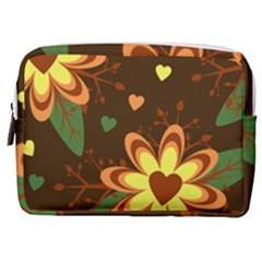 Floral Hearts Brown Green Retro Make Up Pouch (medium) by Pakrebo
