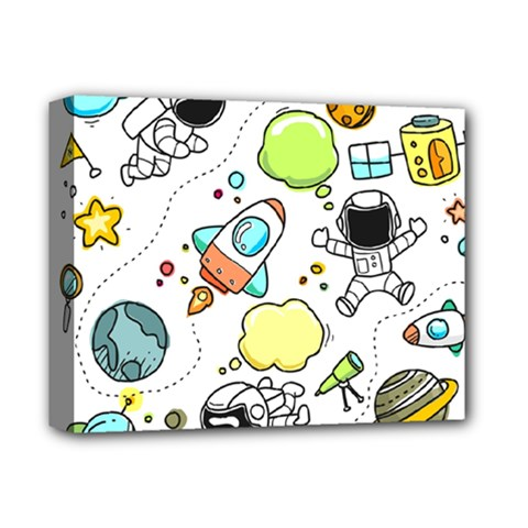 Sketch Cartoon Space Set Deluxe Canvas 14  X 11  (stretched) by Pakrebo