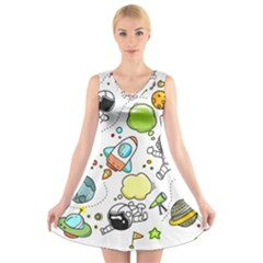 Sketch Cartoon Space Set V Neck Sleeveless Dress