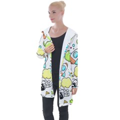 Sketch Cartoon Space Set Longline Hooded Cardigan by Pakrebo