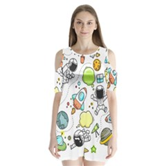 Sketch Cartoon Space Set Shoulder Cutout Velvet One Piece
