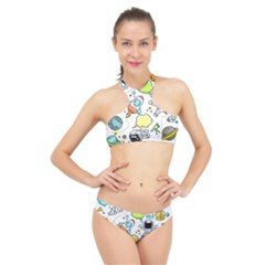 Sketch Cartoon Space Set High Neck Bikini Set