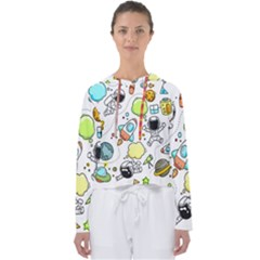 Sketch Cartoon Space Set Women s Slouchy Sweat