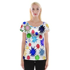 Inks Drops Black Colorful Paint Cap Sleeve Top