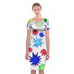 Inks Drops Black Colorful Paint Classic Short Sleeve Midi Dress