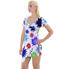 Inks Drops Black Colorful Paint Short Sleeve Asymmetric Mini Dress