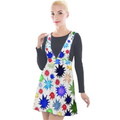 Inks Drops Black Colorful Paint Plunge Pinafore Velour Dress