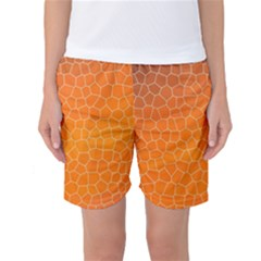 Orange Mosaic Structure Background Women s Basketball Shorts