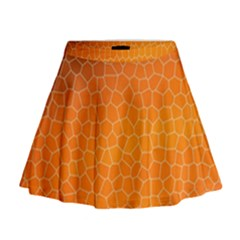 Orange Mosaic Structure Background Mini Flare Skirt by Pakrebo