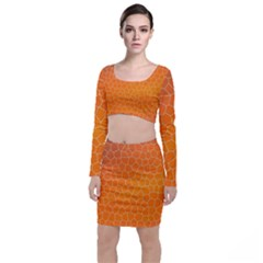 Orange Mosaic Structure Background Top And Skirt Sets by Pakrebo