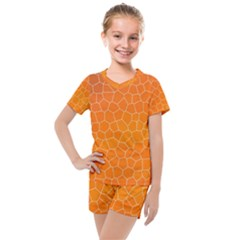 Orange Mosaic Structure Background Kids  Mesh Tee And Shorts Set