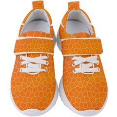 Orange Mosaic Structure Background Kids  Velcro Strap Shoes