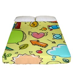 Cute Sketch Child Graphic Funny Fitted Sheet (queen Size)