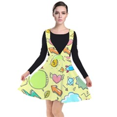Cute Sketch Child Graphic Funny Plunge Pinafore Dress