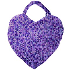 Purple Triangle Background Giant Heart Shaped Tote