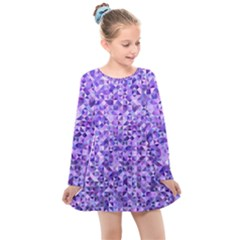 Purple Triangle Background Kids  Long Sleeve Dress