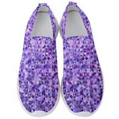 Purple Triangle Background Men s Slip On Sneakers by Jojostore