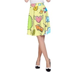 Cute Sketch Child Graphic Funny A Line Skirt