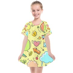 Cute Sketch Child Graphic Funny Kids  Smock Dress