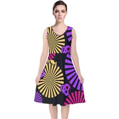 Seamless Halloween Day Of The Dead V Neck Midi Sleeveless Dress