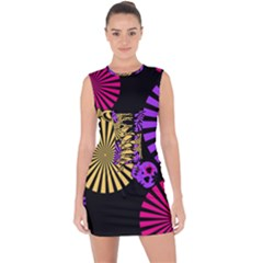 Seamless Halloween Day Of The Dead Lace Up Front Bodycon Dress