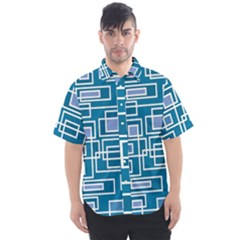 Geometric Rectangle Shape Linear Men s Short Sleeve Shirt