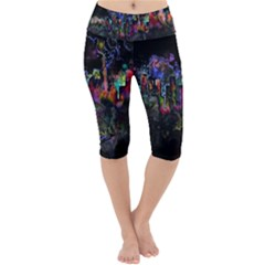 Grunge Paint Splatter Splash Ink Lightweight Velour Cropped Yoga Leggings