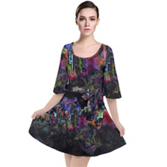 Grunge Paint Splatter Splash Ink Velour Kimono Dress