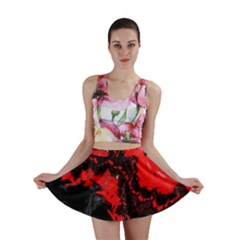 Red Black Fractal Mandelbrot Art Wallpaper Mini Skirt by Pakrebo