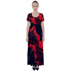 Red Black Fractal Mandelbrot Art Wallpaper High Waist Short Sleeve Maxi Dress by Pakrebo