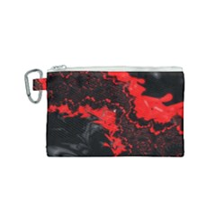 Red Black Fractal Mandelbrot Art Wallpaper Canvas Cosmetic Bag (small) by Pakrebo