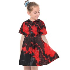 Red Black Fractal Mandelbrot Art Wallpaper Kids  Sailor Dress by Pakrebo
