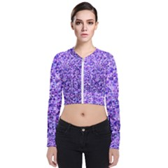Purple Triangle Background Long Sleeve Zip Up Bomber Jacket