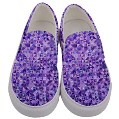 Purple Triangle Background Men s Canvas Slip Ons