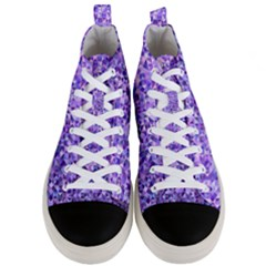 Purple Triangle Background Men s Mid Top Canvas Sneakers
