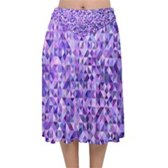 Purple Triangle Background Velvet Flared Midi Skirt
